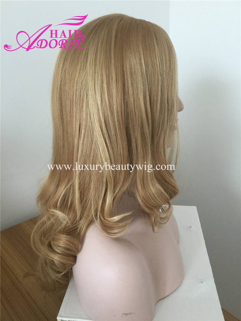 22'' 12/24# Blonde Mongolian Human Hair Kosher Wig