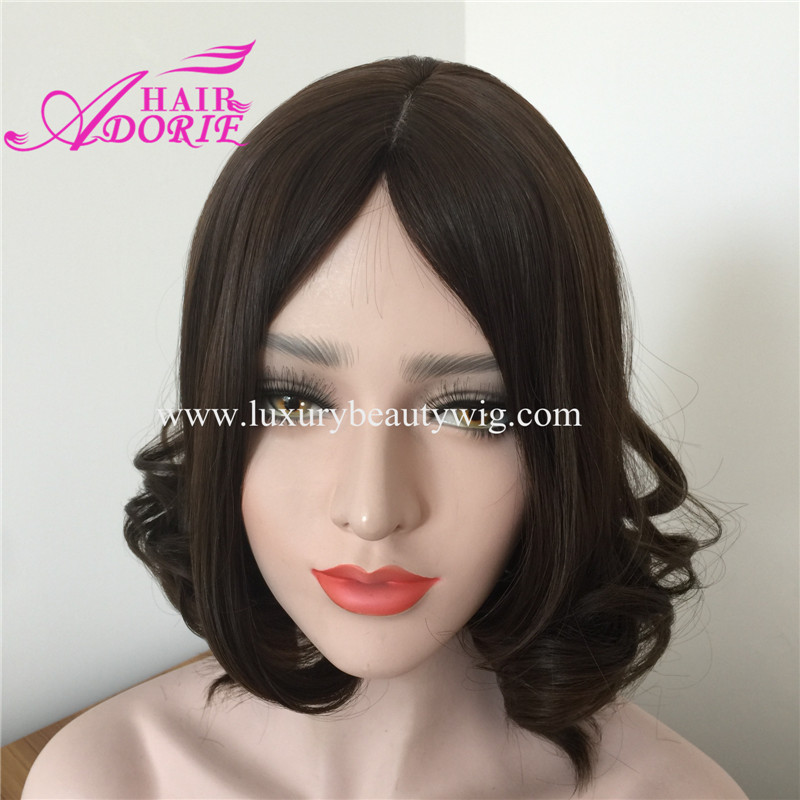 Natural Color Straight Short Mongolian Jewish Wig