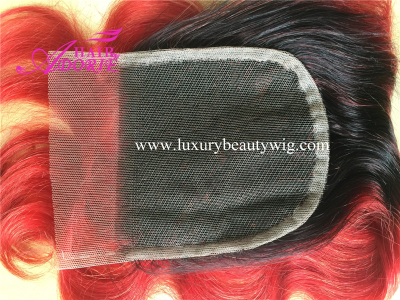 1b/red bady wavy  lace closure